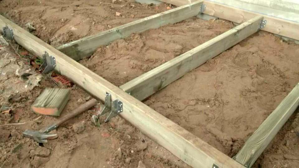 Massivt Opsætning af træterrassefundament   jem & fix QH45